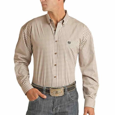 Panhandle Tan and White Print Long Sleeve Buttondown Men's Shirt