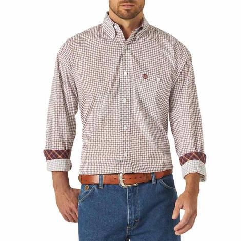 George Straight Burgundy and White Long Sleeve Button Down Shirt