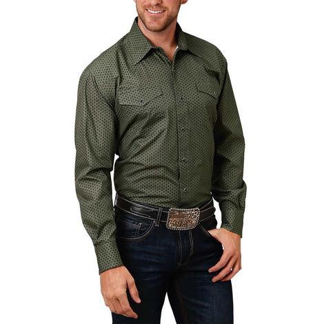 Roper Green Print Long Sleeve Buttondown Men's Shirt