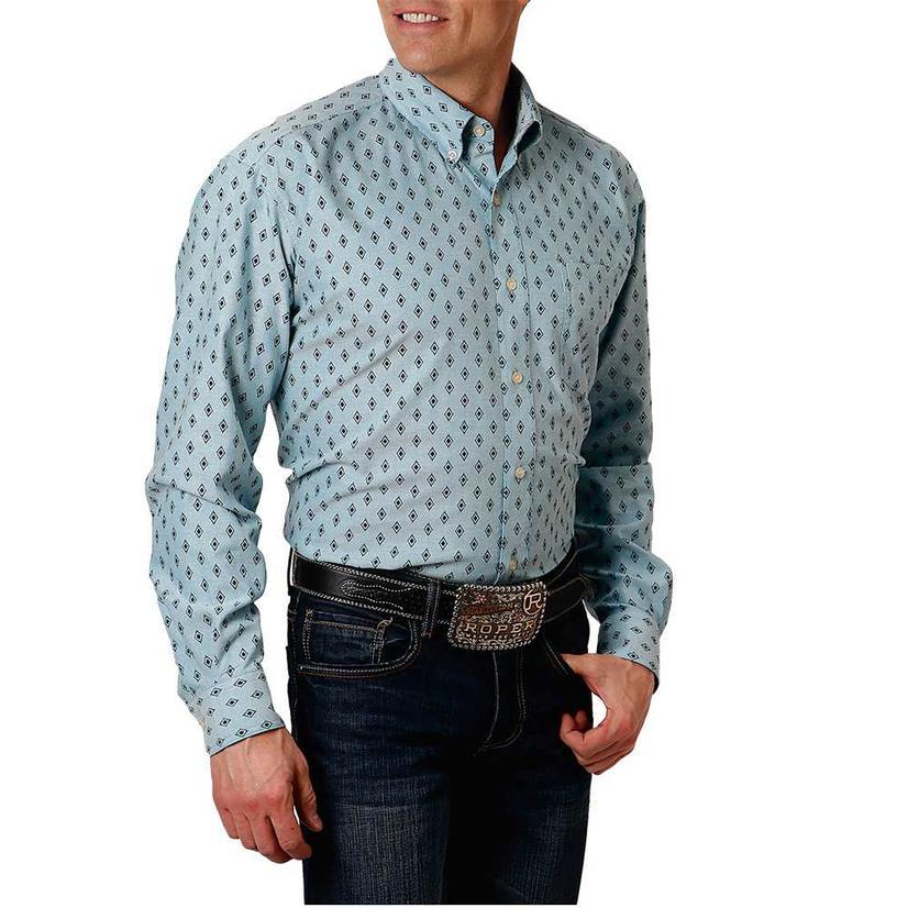 Roper Blue Print Long Sleeve Buttondown Men's Shirt