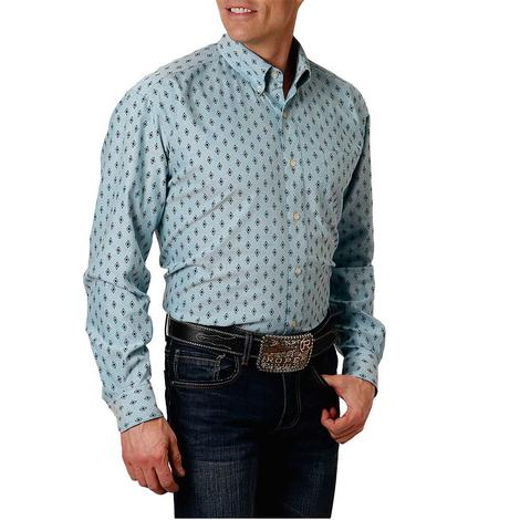 Roper Blue Print Long Sleeve Buttondown Men's Shirt