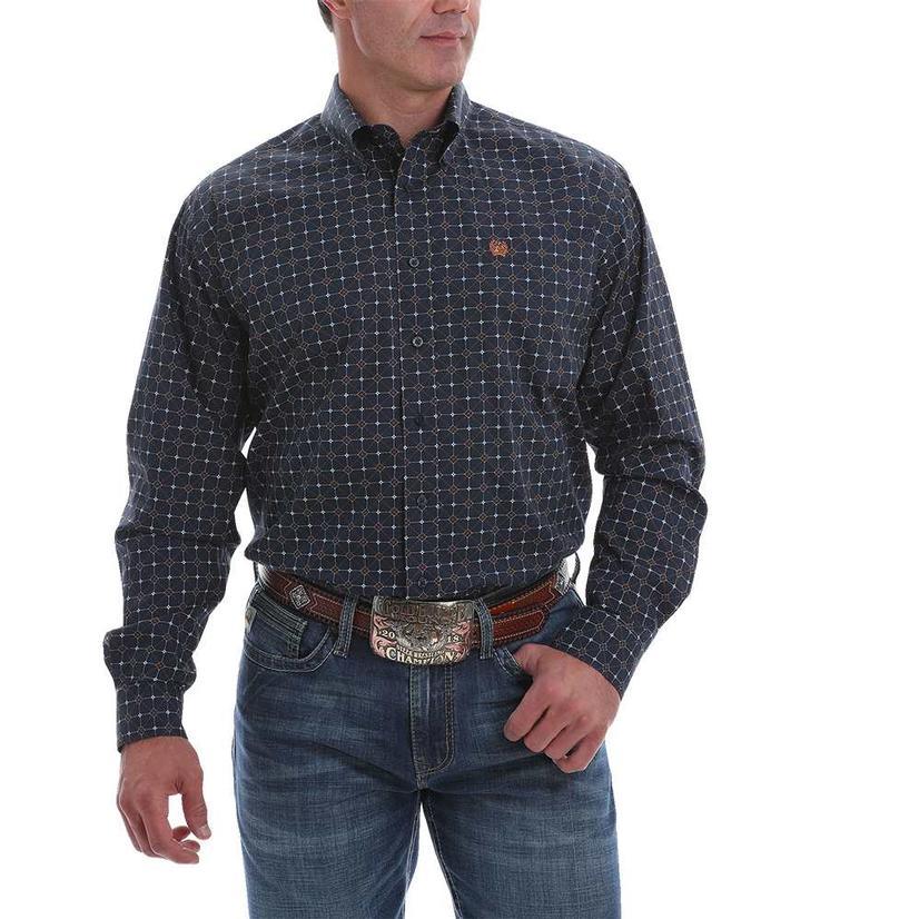 Cinch Navy Print Long Sleeve Buttondown Men's Shirt