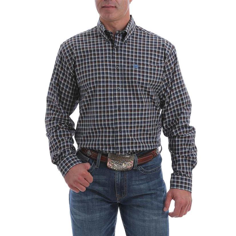 Cinch Navy Plaid Long Sleeve Buttondown Men's Shirt
