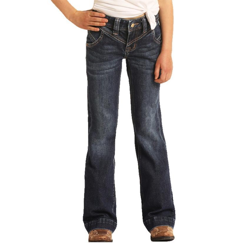 Rock & Roll Cowgirl Girl's Dark Wash Trouser With Rear Seam Jean