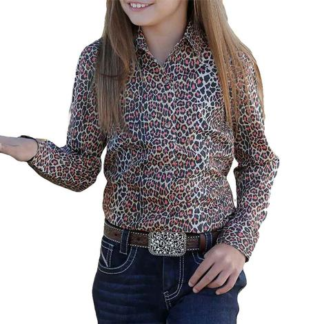 Cruel Girl Brown & Pink Leopard Print Long Sleeve Shirt