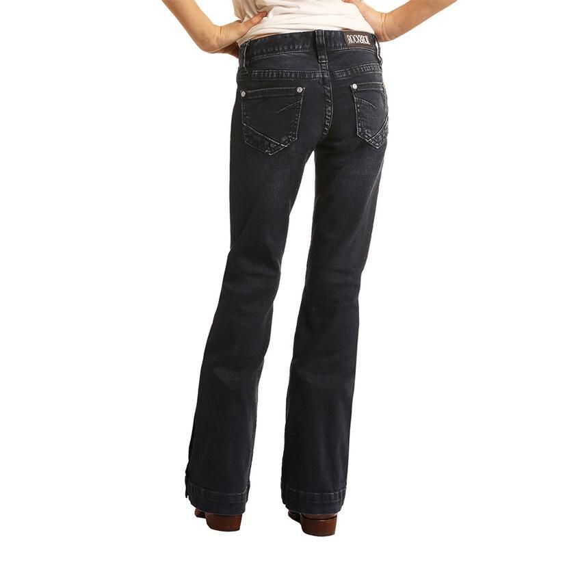 Rock & Roll Cowgirl Girl's Dark Vintage Button Hem Trouser