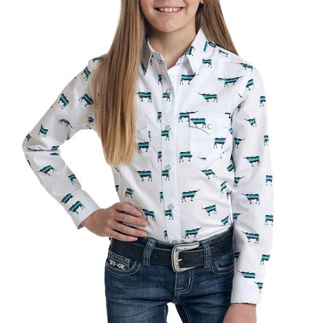 Panhandle Slim Girl's White Longhorn Print Long Sleeve Snap Shirt