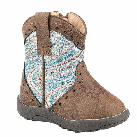 Roper Cowbaby Brown and Blue Glitter Boot