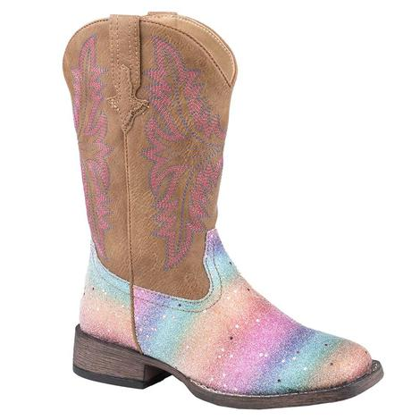 Roper Girl's Rainbow Glitter Boot