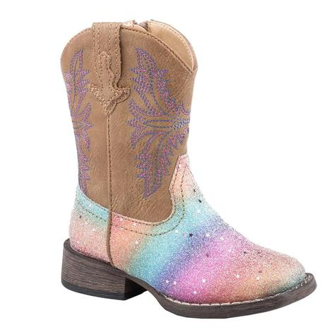 Roper Toddler Girl's Rainbow Glitter Boots