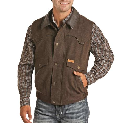 Powder River Heather Brown Leather Collar Men's Wool Vest