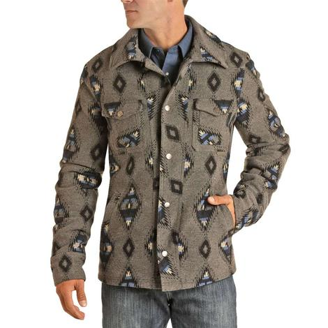 Powder River Blue & Grey Aztec Print Men's Wool Coat