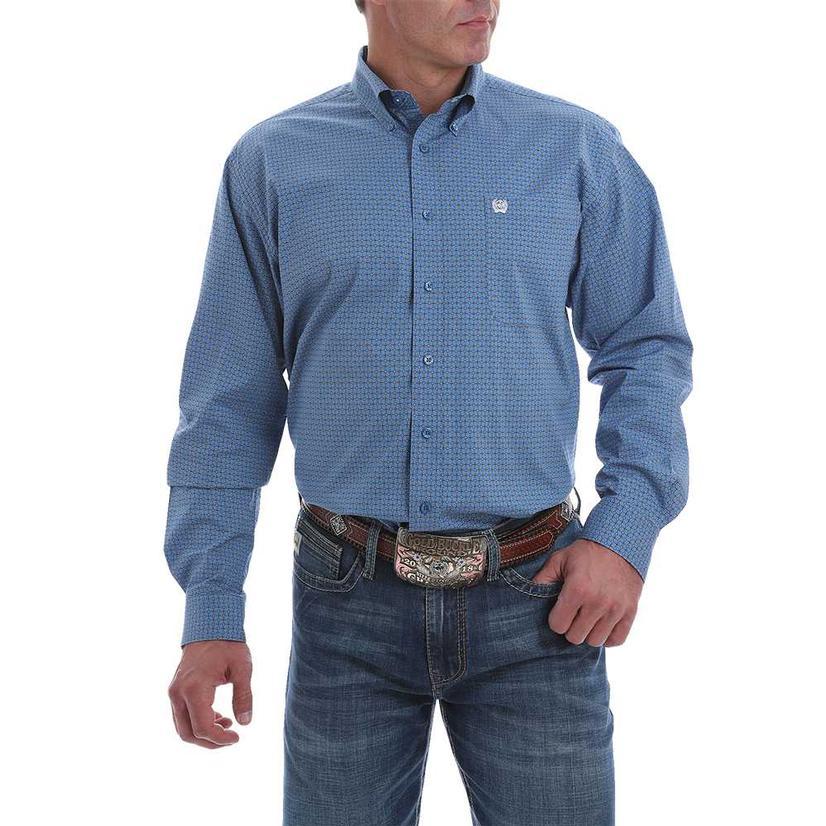 Cinch Men's Blue Print Stretch Button Down Shirt