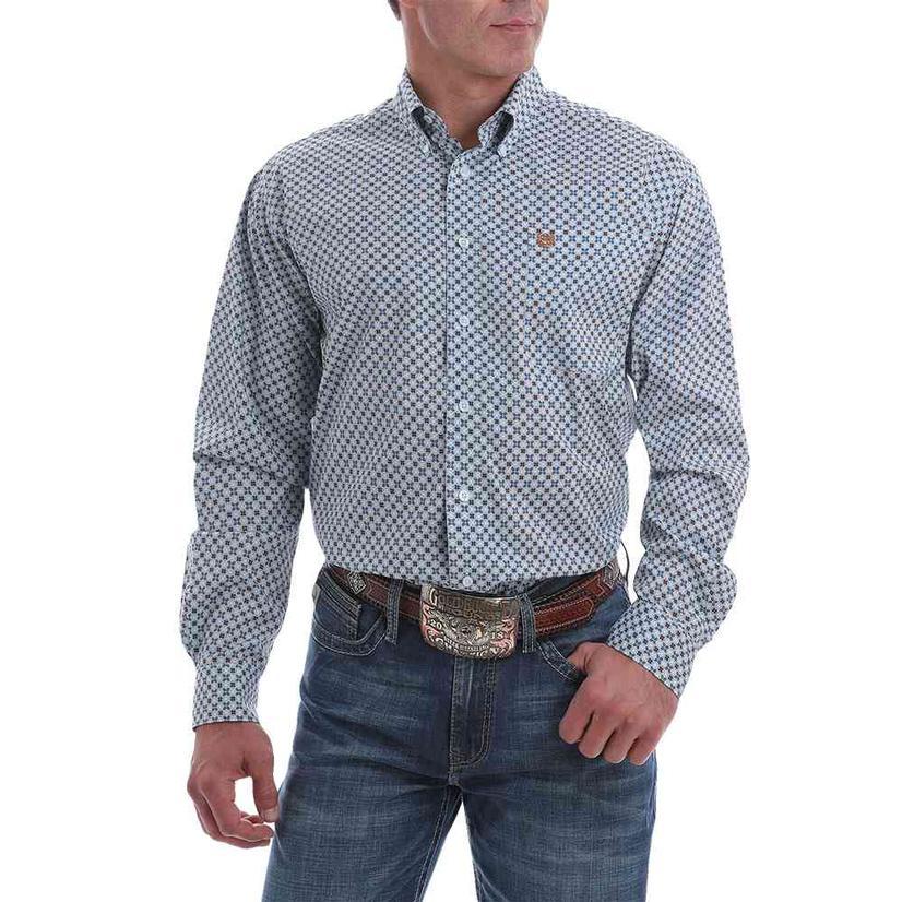 Cinch Men's Light Blue Print Stretch Button Down Shirt