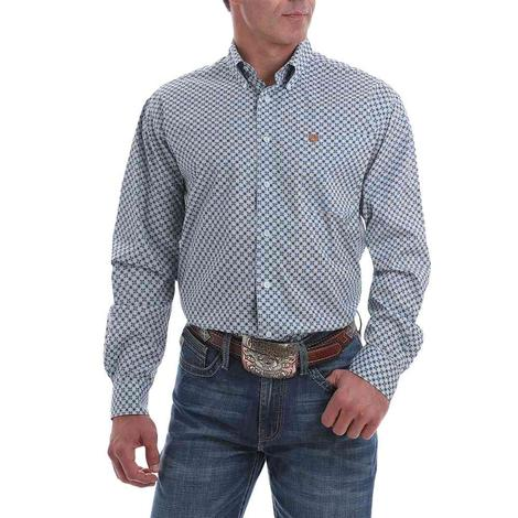 Cinch Men's Light Blue Print Stretch Button Down Shirt
