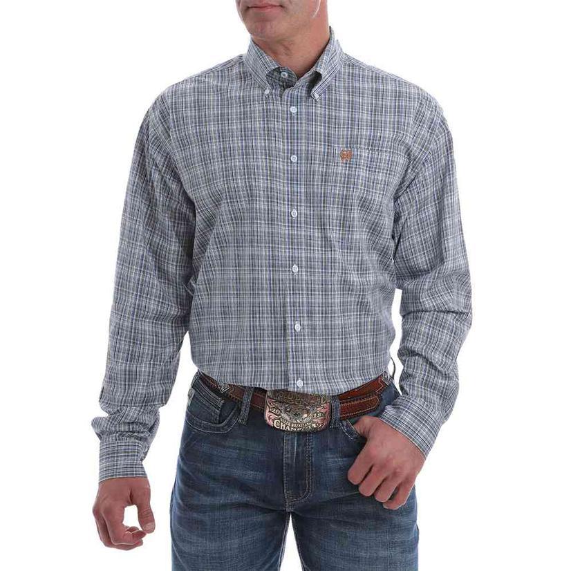 Cinch Men's Light Blue And Rust Plaid Stretch Button Down Shirt