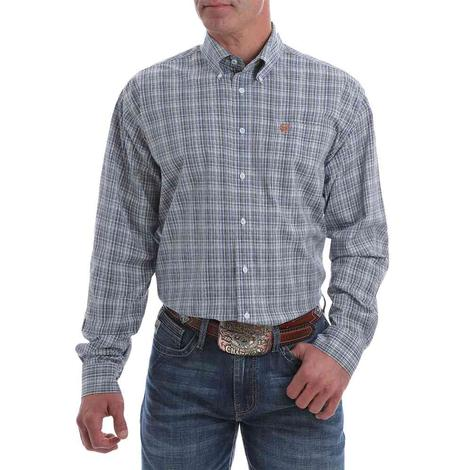 Cinch Men's Light Blue and Rust Plaid Stretch Button Down Shirt