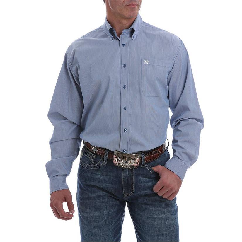 Cinch Men's Blue Stripe Button Down Shirt