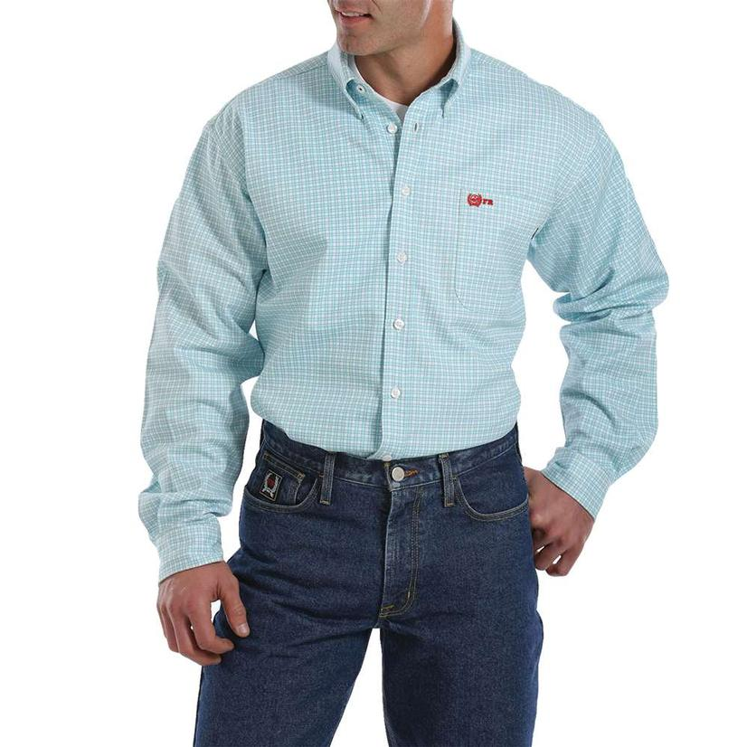 Cinch Fr Light Blue Plaid Long Sleeve Shirt