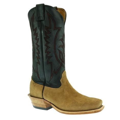 Fenoglio Men's Natural Brown Rowdy Roughout with Black Upper Boots