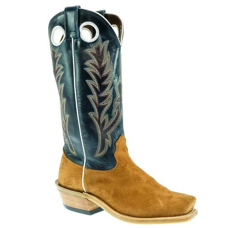 Fenoglio Men's Red Brown Roughout with Blue Upper Boots