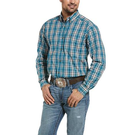 Ariat Men's Ortega Multi Blue Plaid Long Sleeve Shirt