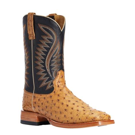 Ariat Gallup Tan Full Quill Ostrich Men's Boots