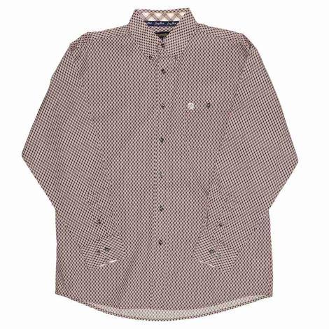 Wrangler George Strait Burgundy Print Long Sleeve Buttondown Men's Shirt