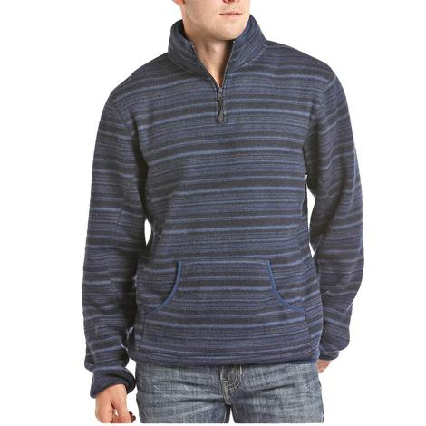 Powder River Blue Stripe Quarter Zip Fleece Men's Pullover