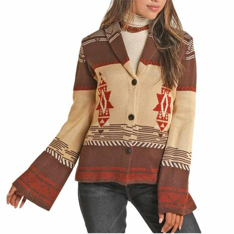 Powder River Stagecoach Aztec Print Sweater