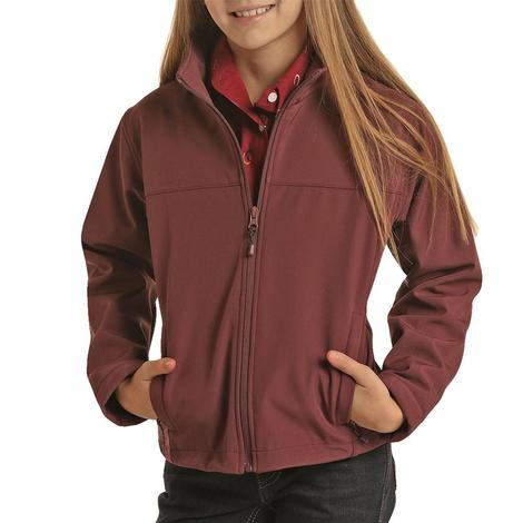 Powder River Solid Maroon Softshell Girl's Jacket