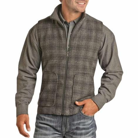 Powder River Black Checkered Zip Wool Men's Vest
