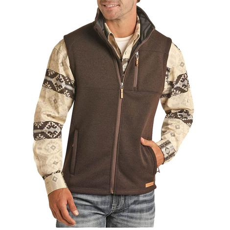 Powder River Brown Rib Knit Performance Men's Vest