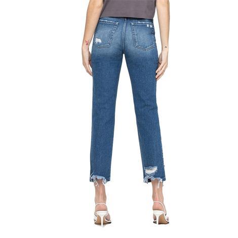 Vervet Super High Rise Distressed Crop Straight Leg Women's Jeans