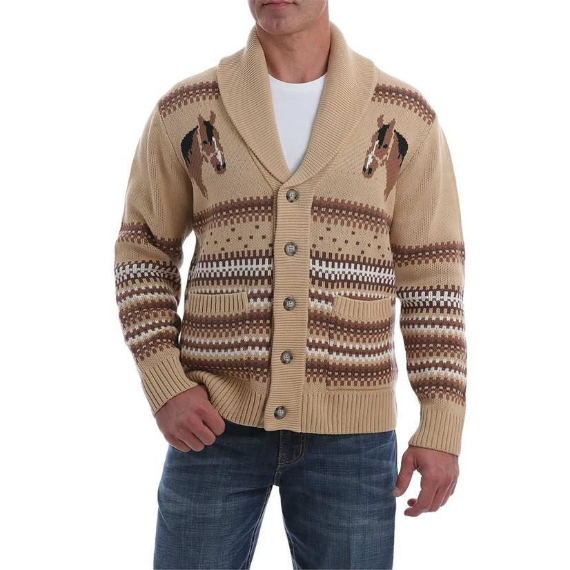 Cinch Cream Horse Knit Men's Sweater