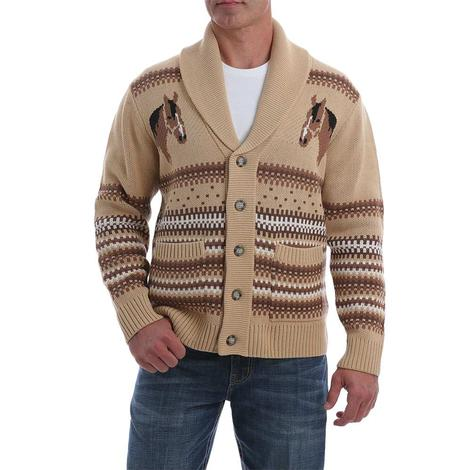 Cinch Cream Horse Knit Men's Sweater