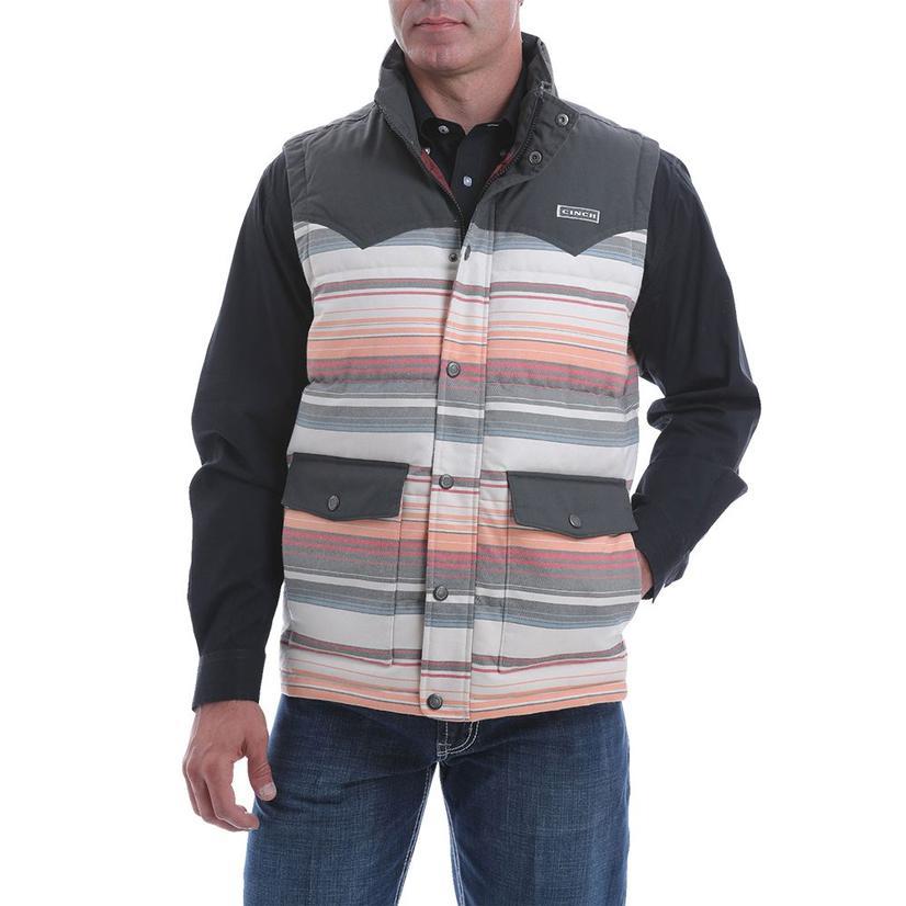 Cinch Faded Stripe Quilted Blanket Men's Vest