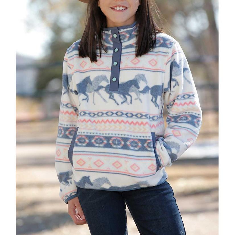 Cruel Horse Print Fleece Girl's Pullover