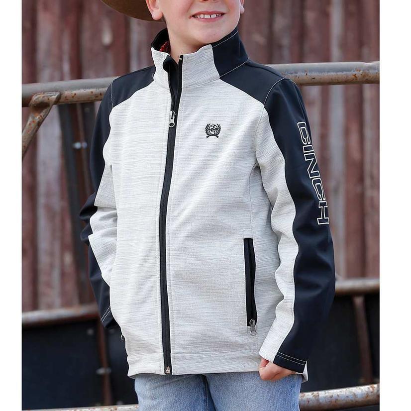Cinch Boy's Grey Black Color Block Bonded Jacket