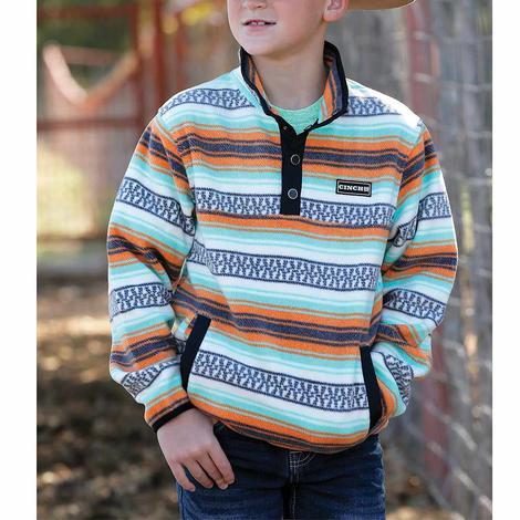 Cinch Boy's Mint Multi Print Fleece Pullover