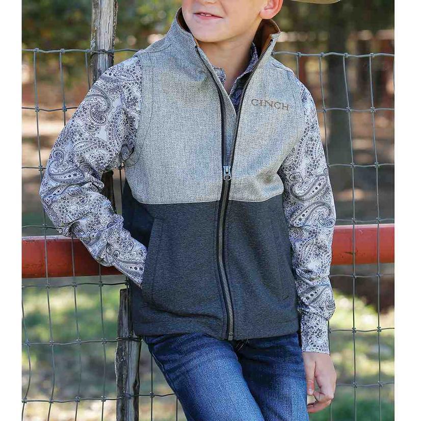 Cinch Boy's Grey Color Block Bonded Vest