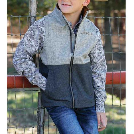Cinch Boy's Grey Color Block Bonded Vest