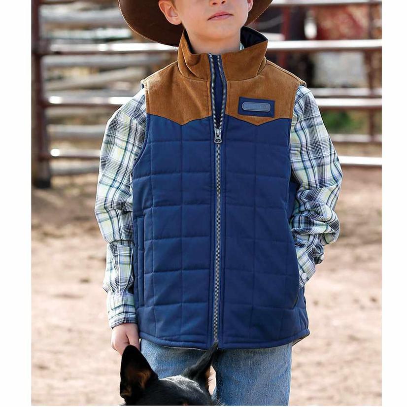 Cinch Boy's Blue Quilted Corduroy Yoke Vest