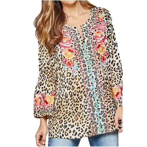 Leopard Embroidered Women's Top