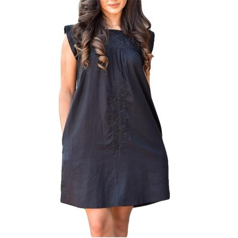 Sabrina Black Embroidered Women's Dress