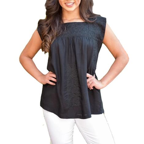 Sabrina Black Ebroidered Women's Top