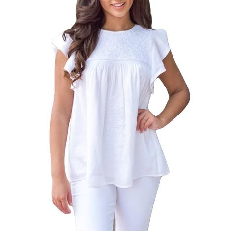 Noah White Embroidered Women's Top