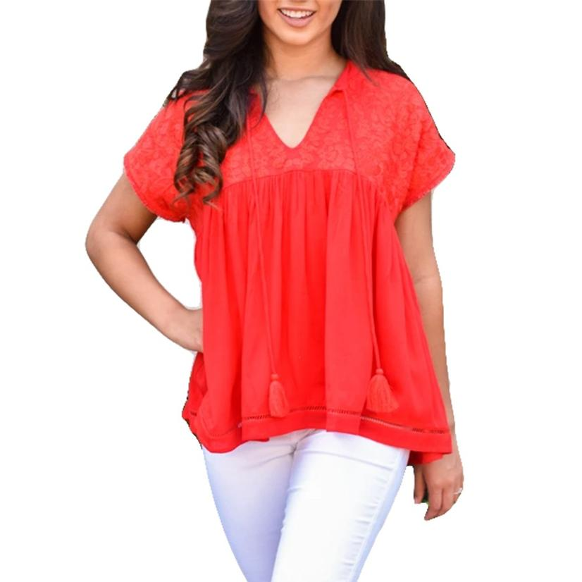 Athens Red Embroidered Women's Top