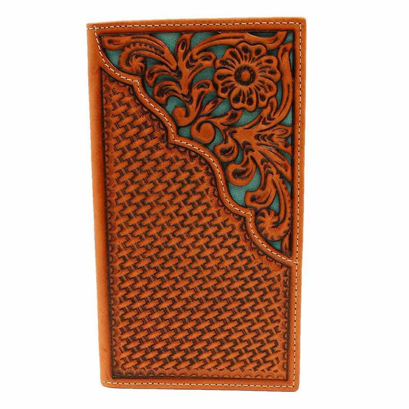 Nocona Basketweave Tool And Turquoise Underlay Men's Rodeo Wallet