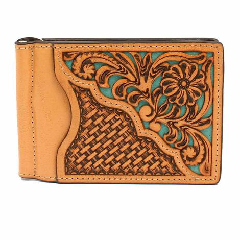 Nocona Basketweave with Turquoise Underlay Money Clip
